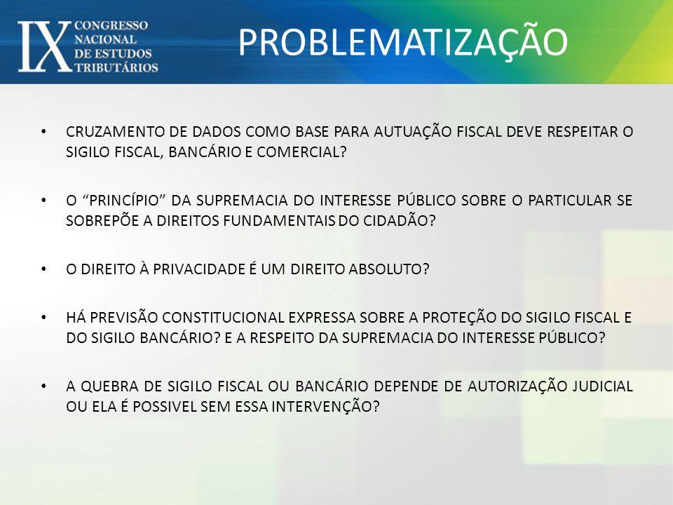 PROBLEMATIZAÇÃO CRUZAMENTO DE DADOS COMO BASE PARA AUTUAÇÃO FISCAL DEVE RESPEITAR O SIGILO FISCAL, BANCÁRIO E COMERCIAL