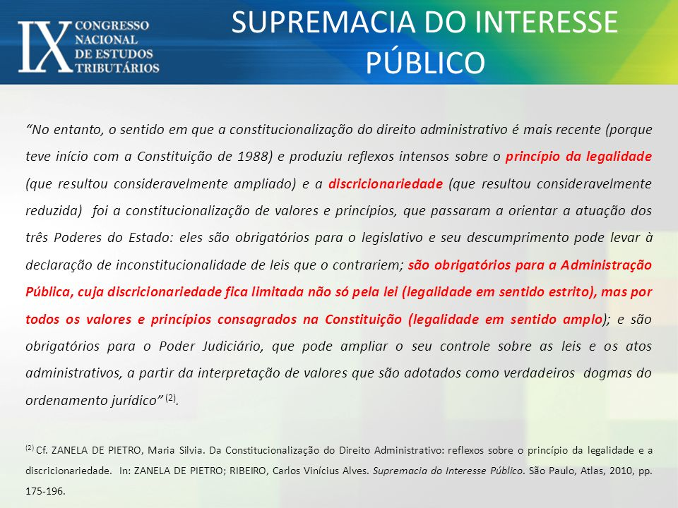 SUPREMACIA DO INTERESSE PÚBLICO