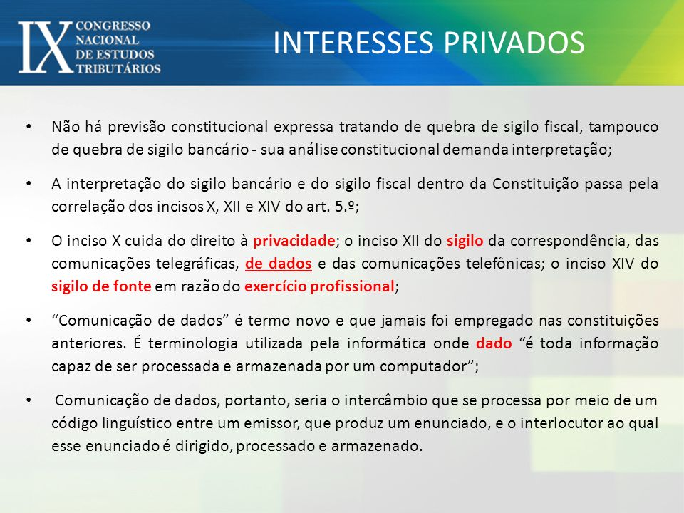 INTERESSES PRIVADOS
