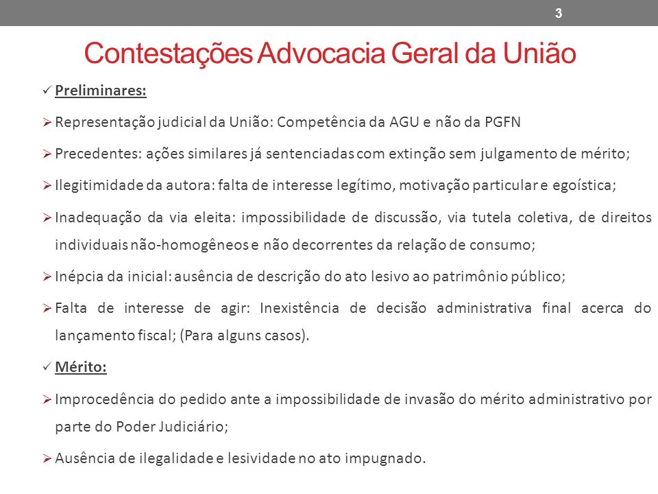 Contestações Advocacia Geral da União