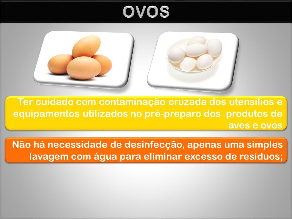 OVOS Ter cuidado com contaminação cruzada dos utensilios e equipamentos utilizados no pré-preparo dos produtos de aves e ovos.