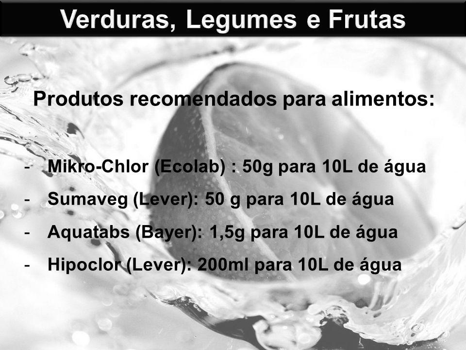 Verduras, Legumes e Frutas Produtos recomendados para alimentos: