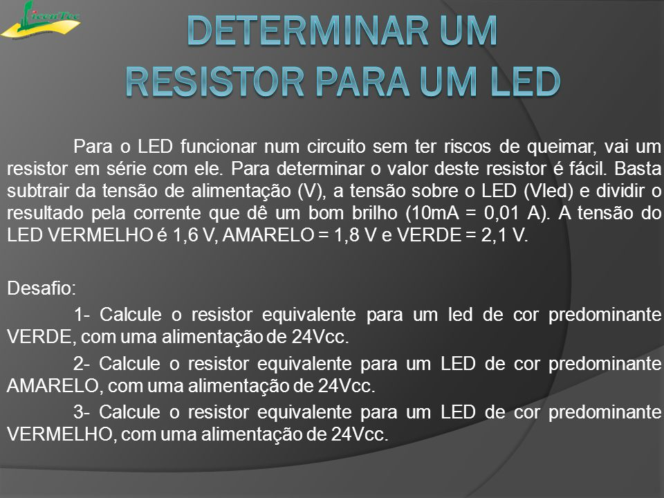 Determinar um resistor para um led