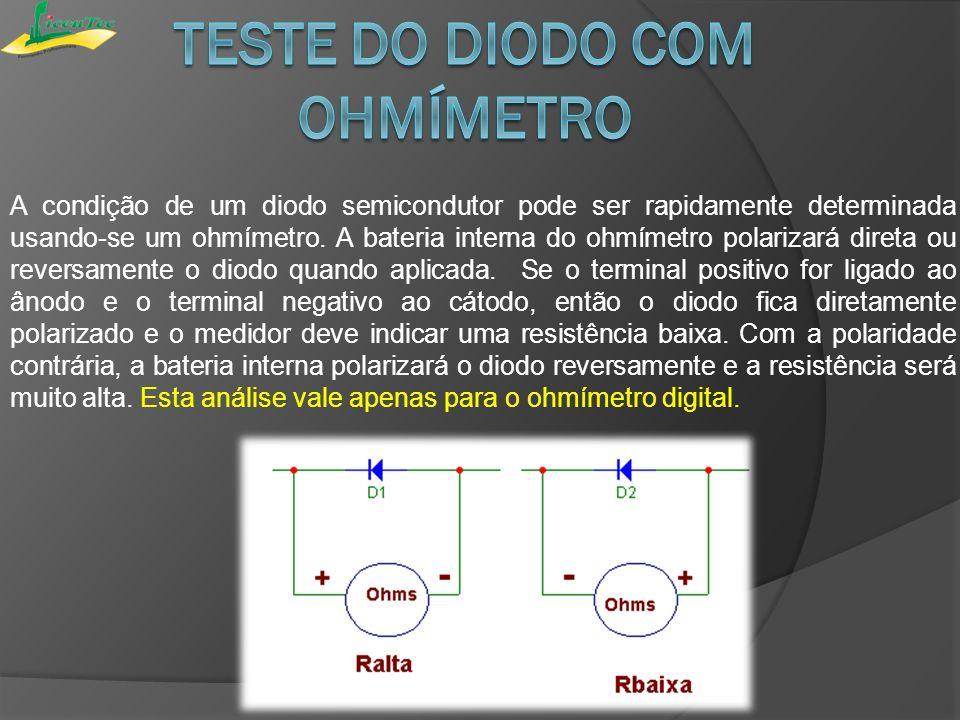 Teste do diodo com ohmímetro