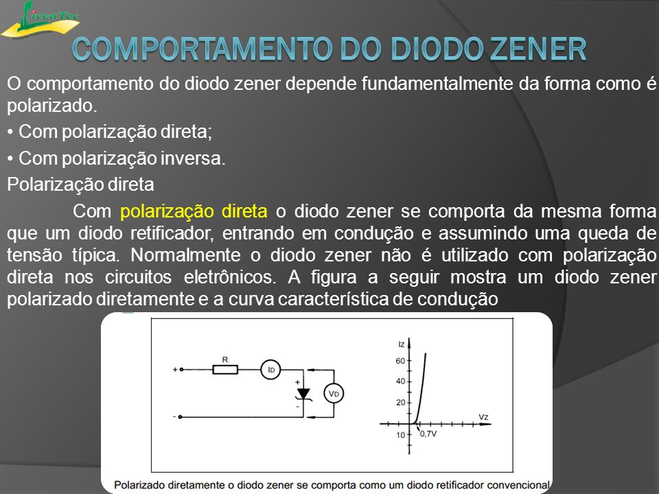 Comportamento do diodo zener