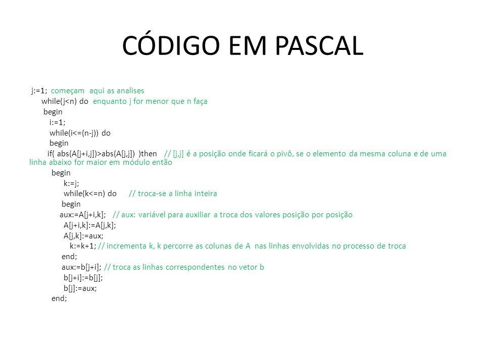CÓDIGO EM PASCAL