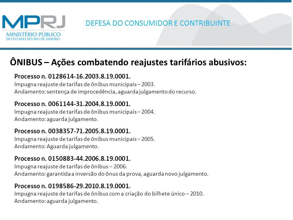 ÔNIBUS – Ações combatendo reajustes tarifários abusivos: