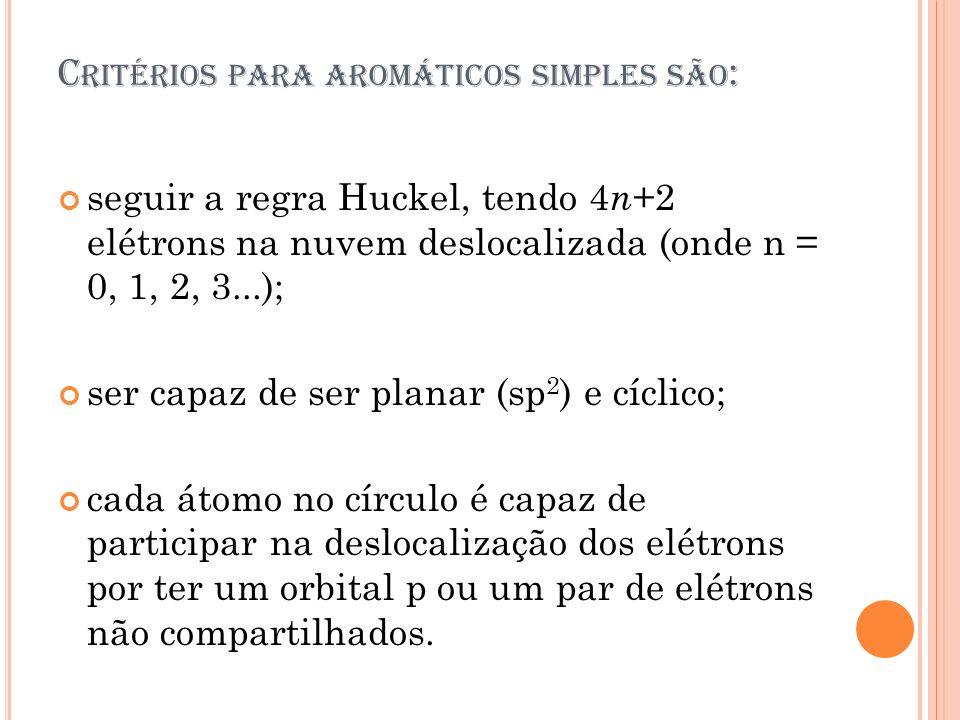 Critérios para aromáticos simples são: