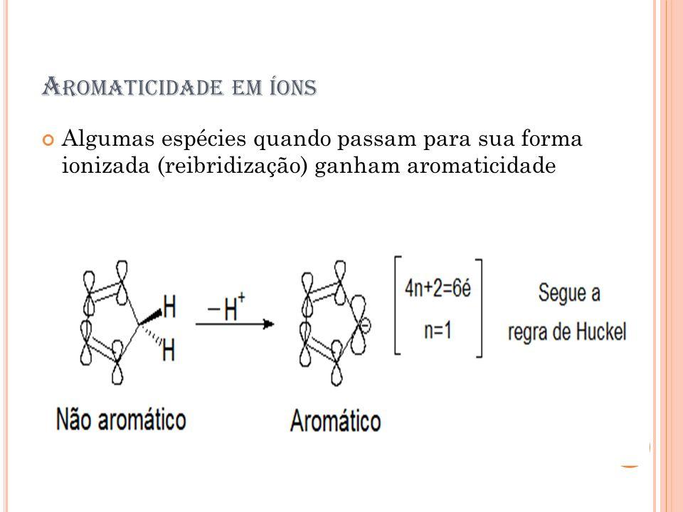 Aromaticidade em íons Algumas espécies quando passam para sua forma ionizada (reibridização) ganham aromaticidade.