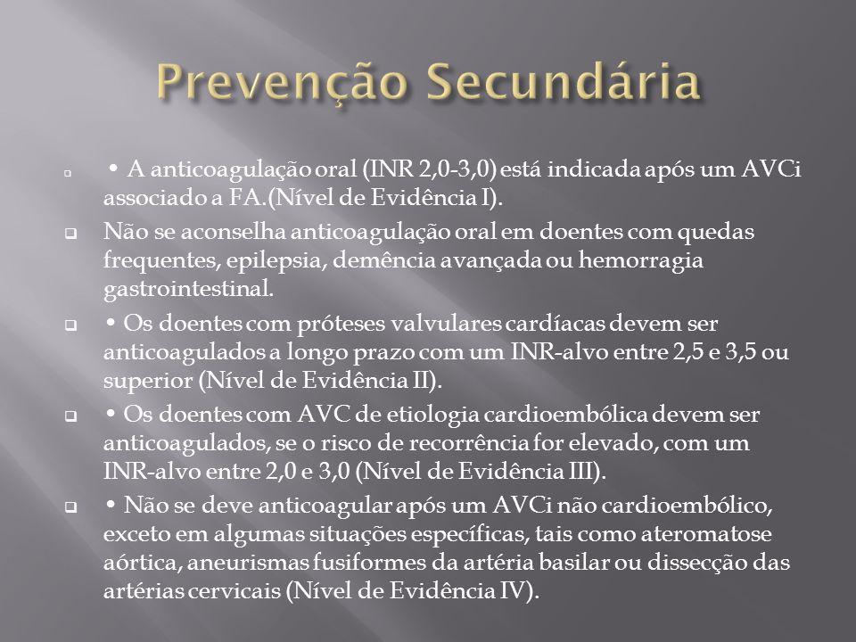 Prevenção Secundária • A anticoagulação oral (INR 2,0-3,0) está indicada após um AVCi associado a FA.(Nível de Evidência I).