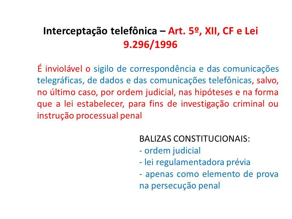 Interceptação telefônica – Art. 5º, XII, CF e Lei 9.296/1996