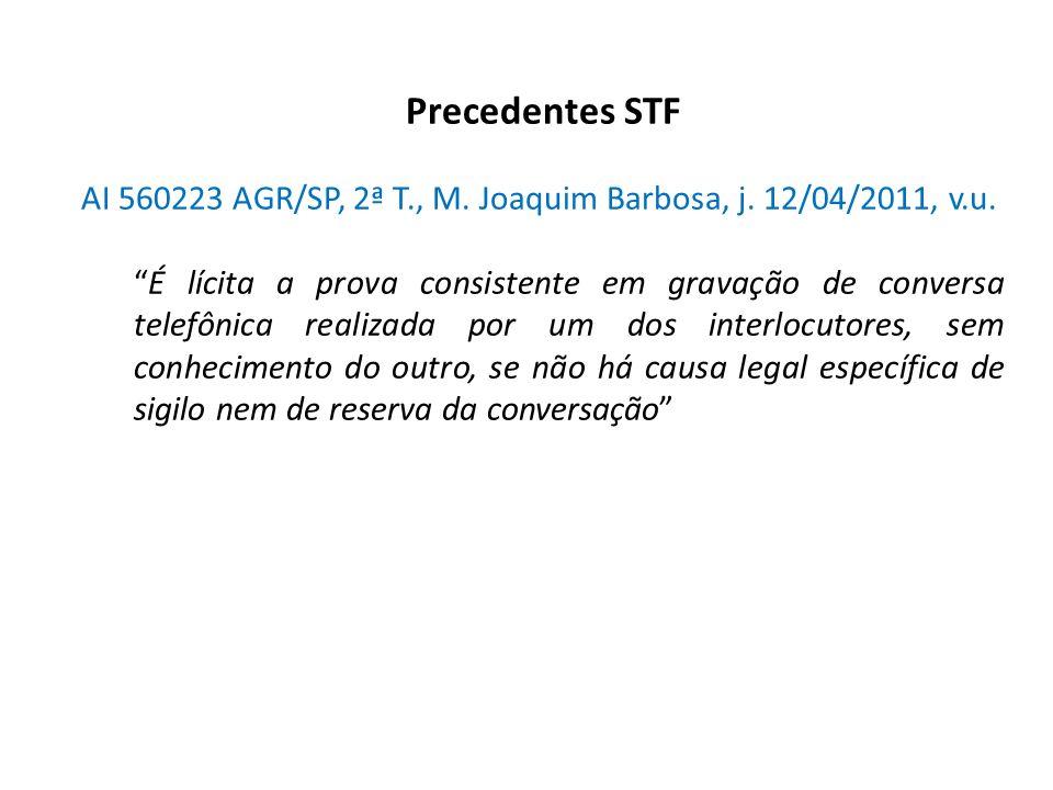 Precedentes STF AI 560223 AGR/SP, 2ª T., M. Joaquim Barbosa, j. 12/04/2011, v.u.