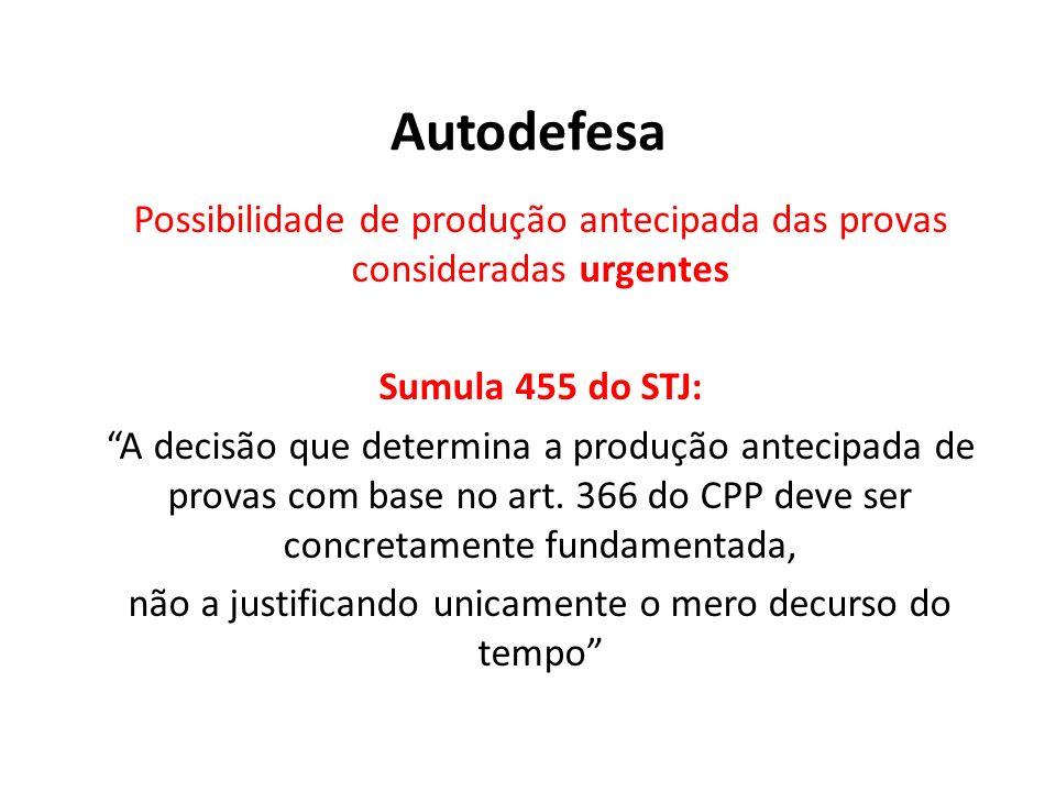 Autodefesa Possibilidade de produção antecipada das provas consideradas urgentes. Sumula 455 do STJ: