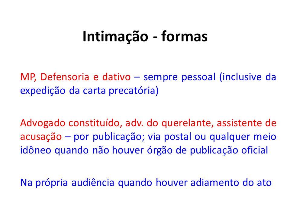 Intimação - formas MP, Defensoria e dativo – sempre pessoal (inclusive da expedição da carta precatória)