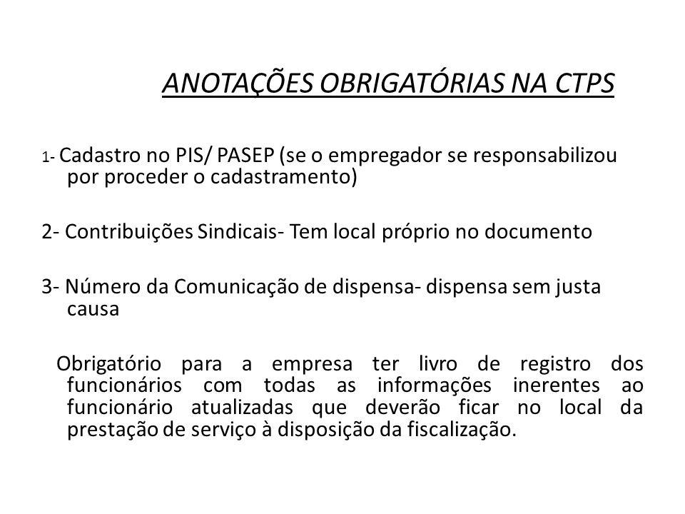 ANOTAÇÕES OBRIGATÓRIAS NA CTPS