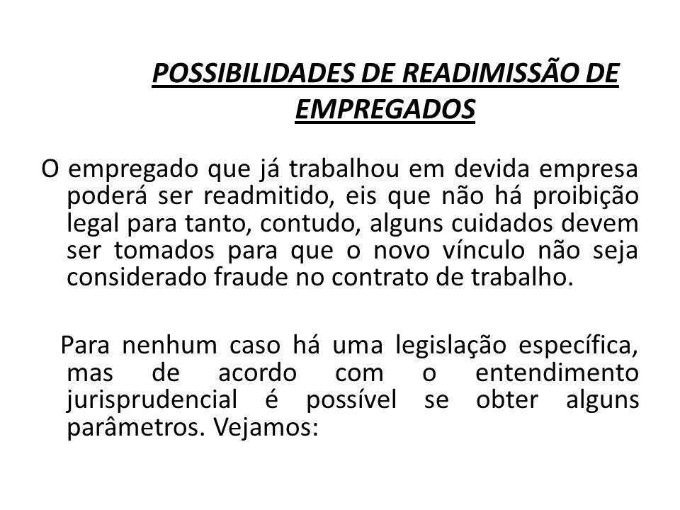 POSSIBILIDADES DE READIMISSÃO DE EMPREGADOS