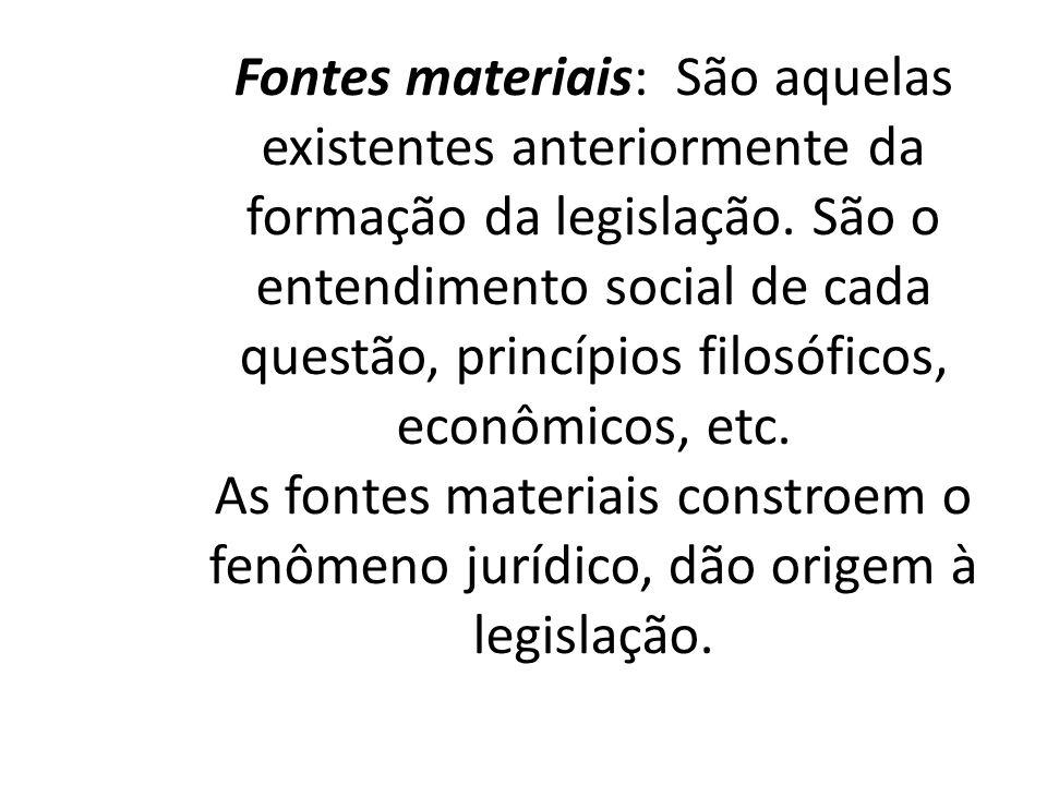 Fontes materiais: São aquelas existentes anteriormente da formação da legislação.