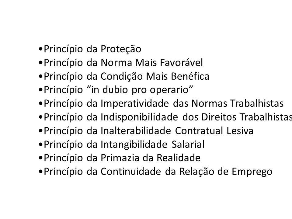 Princípio da Proteção Princípio da Norma Mais Favorável. Princípio da Condição Mais Benéfica. Princípio in dubio pro operario