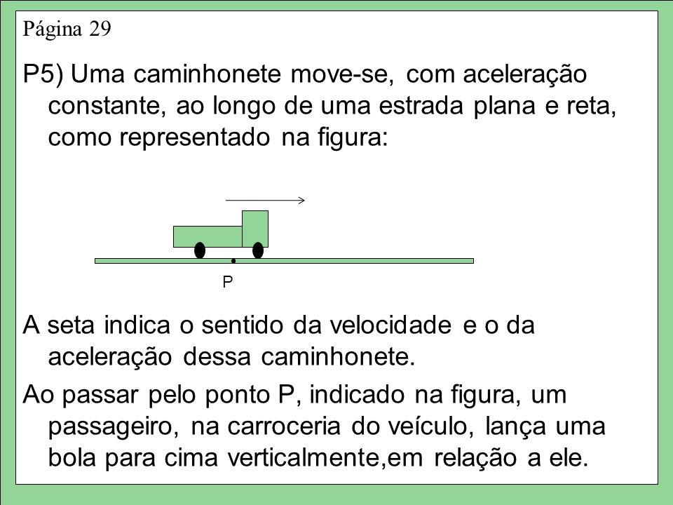 Página 29 P5) Uma caminhonete move-se, com aceleração constante, ao longo de uma estrada plana e reta, como representado na figura:
