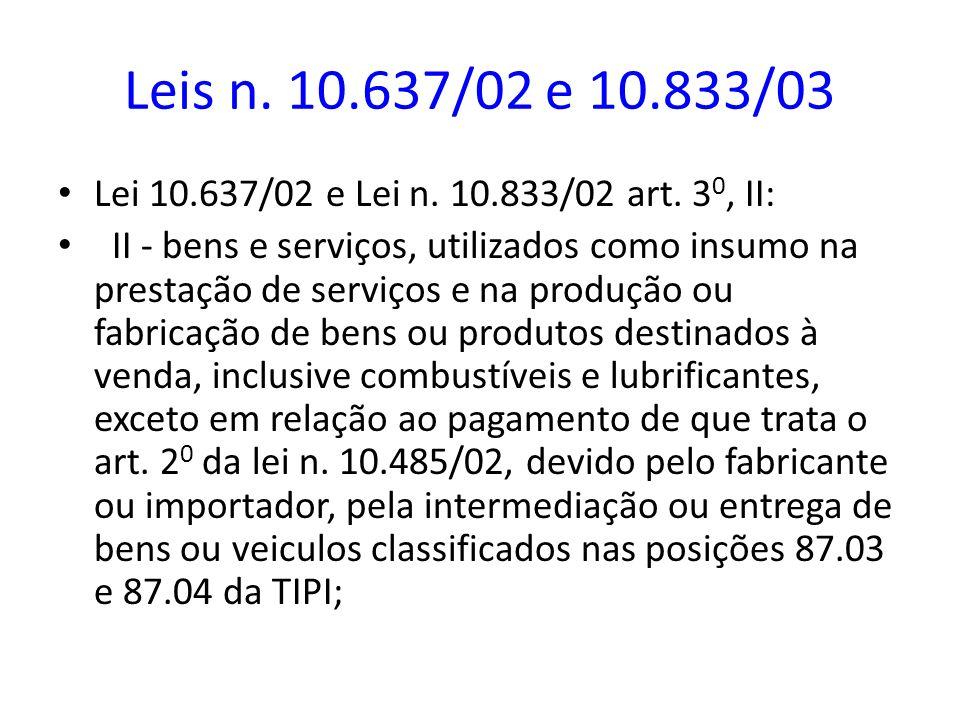 Leis n. 10.637/02 e 10.833/03 Lei 10.637/02 e Lei n. 10.833/02 art. 30, II: