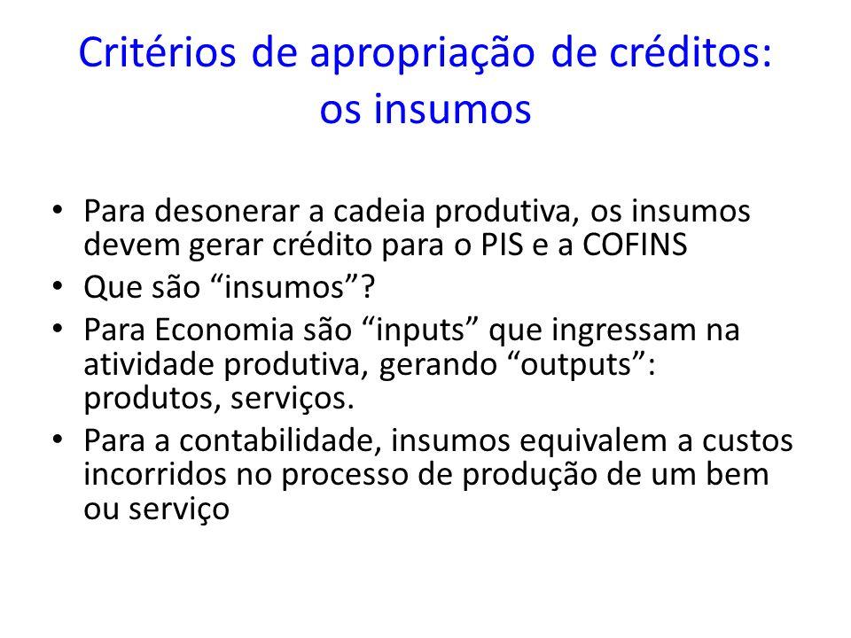 Critérios de apropriação de créditos: os insumos
