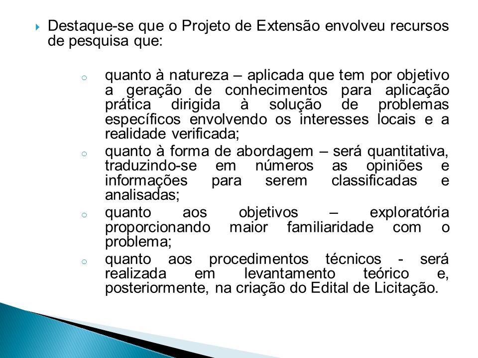 Destaque-se que o Projeto de Extensão envolveu recursos de pesquisa que: