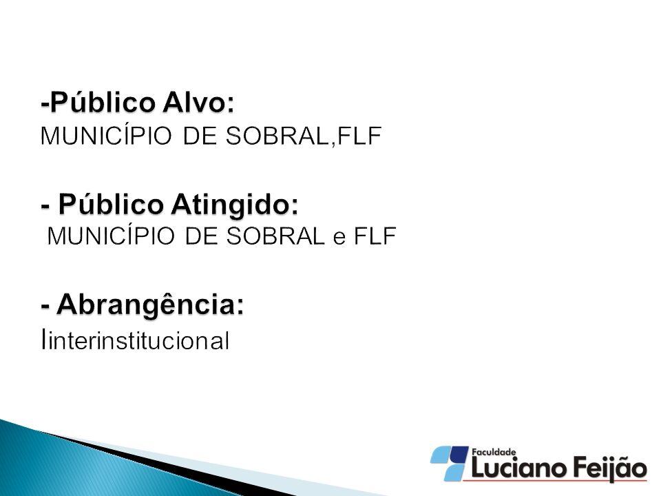 -Público Alvo: MUNICÍPIO DE SOBRAL,FLF - Público Atingido: MUNICÍPIO DE SOBRAL e FLF - Abrangência: Iinterinstitucional