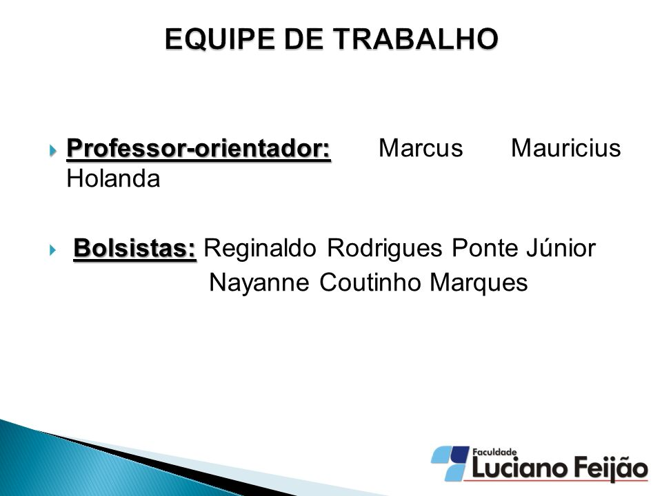 EQUIPE DE TRABALHO Professor-orientador: Marcus Mauricius Holanda