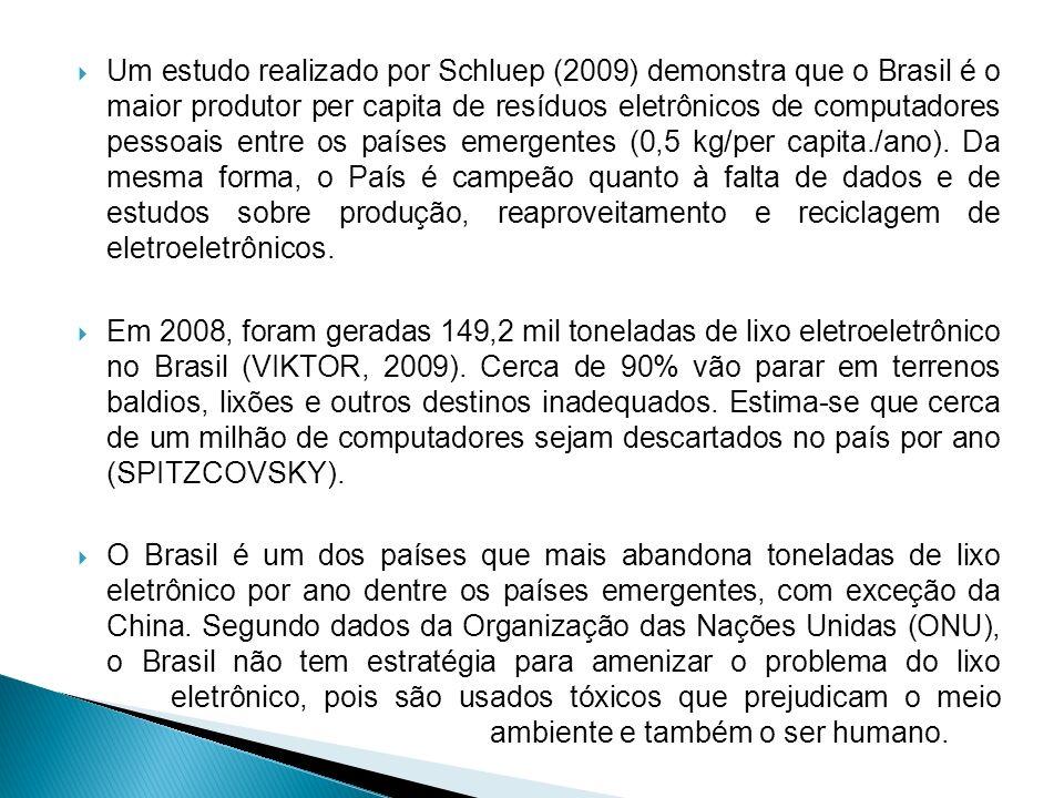 Um estudo realizado por Schluep (2009) demonstra que o Brasil é o maior produtor per capita de resíduos eletrônicos de computadores pessoais entre os países emergentes (0,5 kg/per capita./ano). Da mesma forma, o País é campeão quanto à falta de dados e de estudos sobre produção, reaproveitamento e reciclagem de eletroeletrônicos.