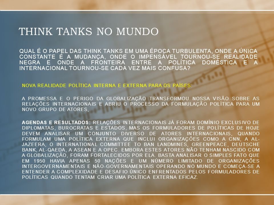 THINK TANKS NO MUNDO
