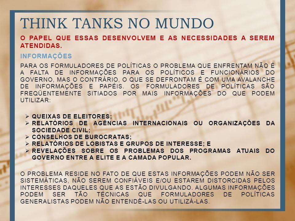 THINK TANKS NO MUNDO O PAPEL QUE ESSAS DESENVOLVEM E AS NECESSIDADES A SEREM ATENDIDAS. informações.