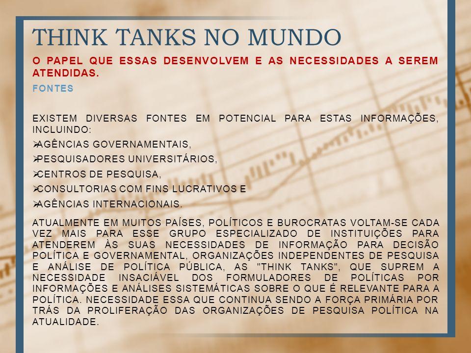 THINK TANKS NO MUNDO O PAPEL QUE ESSAS DESENVOLVEM E AS NECESSIDADES A SEREM ATENDIDAS. Fontes.