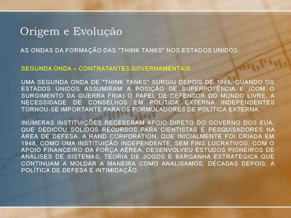 Origem e Evolução As ondas da formação das think tanks nos estados unidos: Segunda onda – contratantes governamentais.