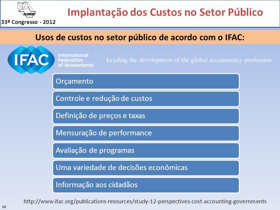 Usos de custos no setor público de acordo com o IFAC: