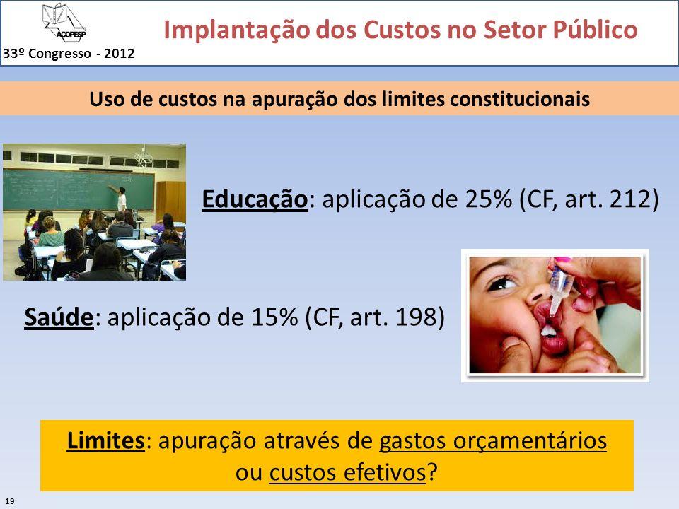Uso de custos na apuração dos limites constitucionais