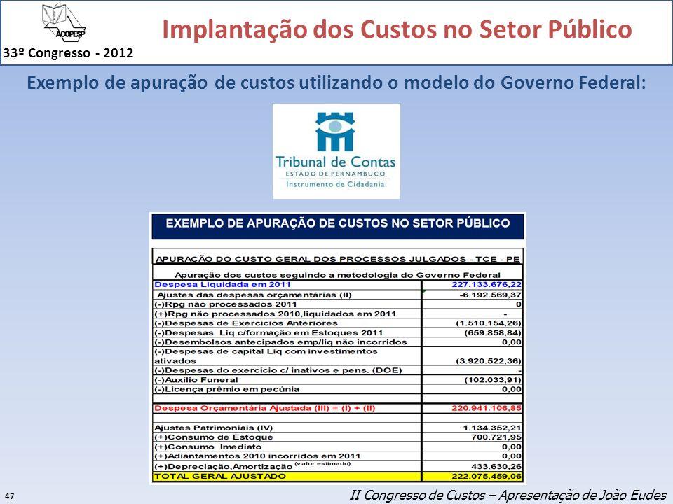 Exemplo de apuração de custos utilizando o modelo do Governo Federal: