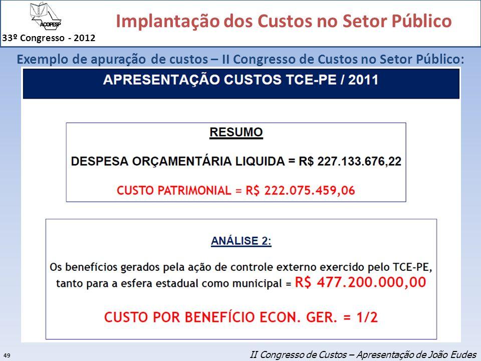 Exemplo de apuração de custos – II Congresso de Custos no Setor Público:
