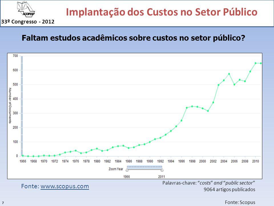 Faltam estudos acadêmicos sobre custos no setor público