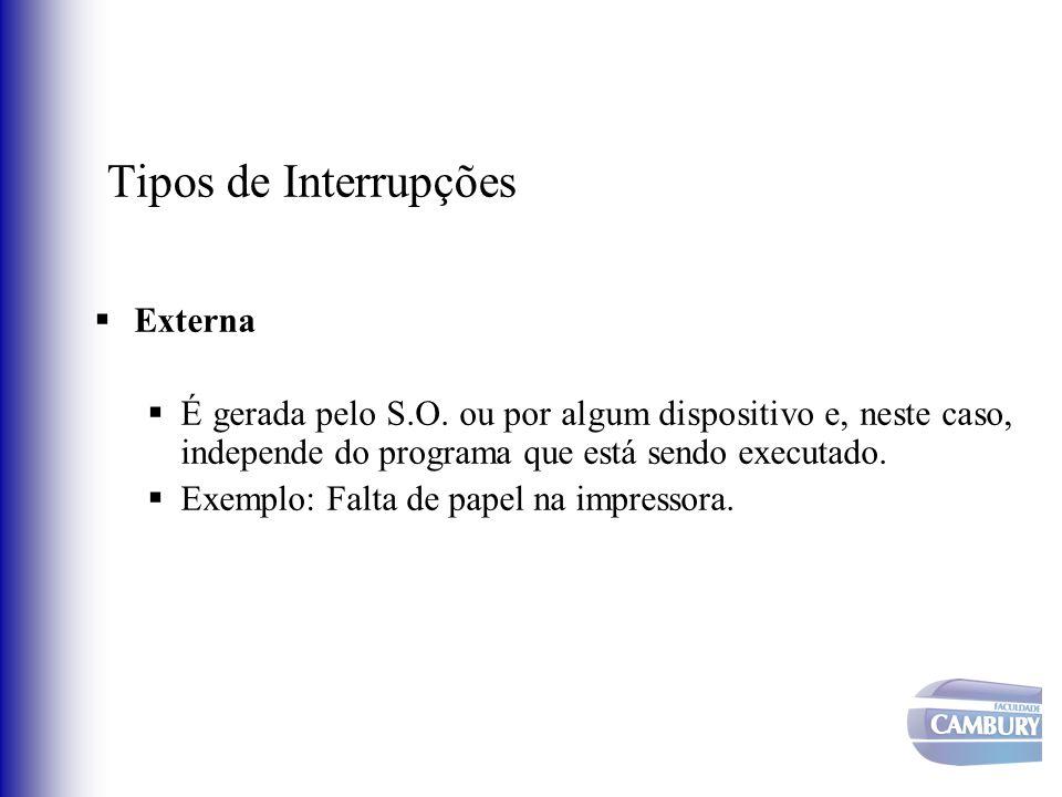 Tipos de Interrupções Externa