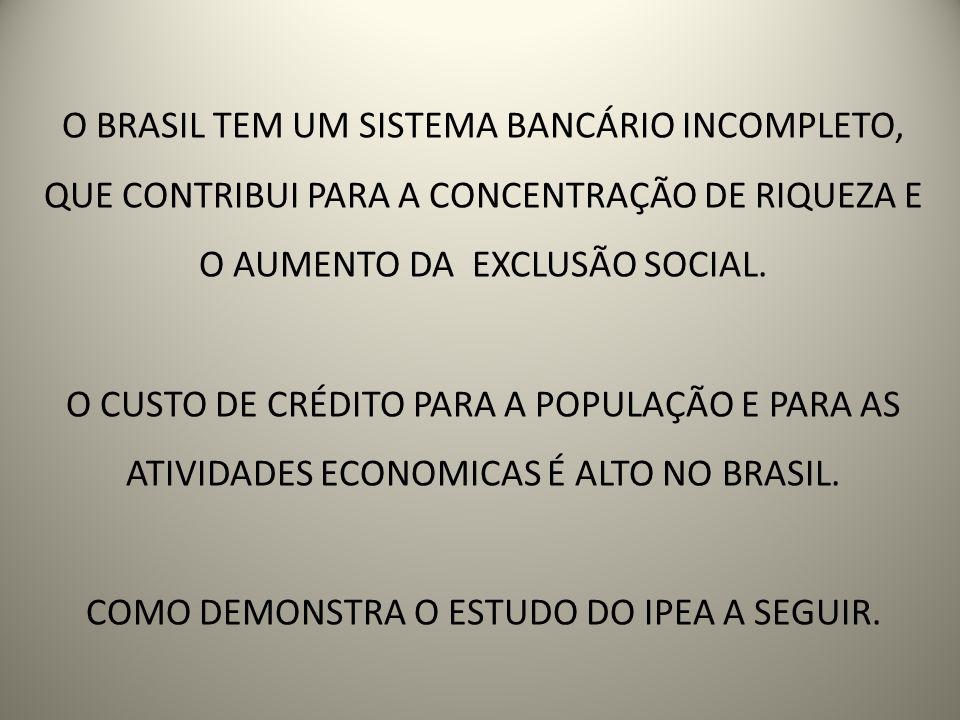 O BRASIL TEM UM SISTEMA BANCÁRIO INCOMPLETO, QUE CONTRIBUI PARA A CONCENTRAÇÃO DE RIQUEZA E O AUMENTO DA EXCLUSÃO SOCIAL.