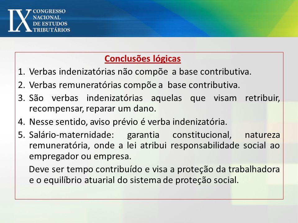 Conclusões lógicas Verbas indenizatórias não compõe a base contributiva. Verbas remuneratórias compõe a base contributiva.