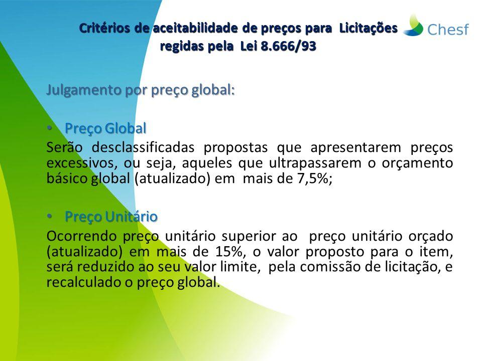 Julgamento por preço global: Preço Global
