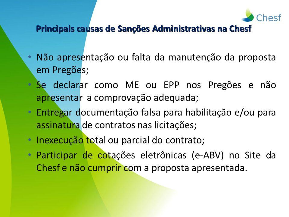 Principais causas de Sanções Administrativas na Chesf