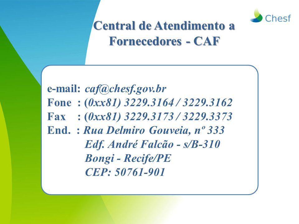 Central de Atendimento a Fornecedores - CAF