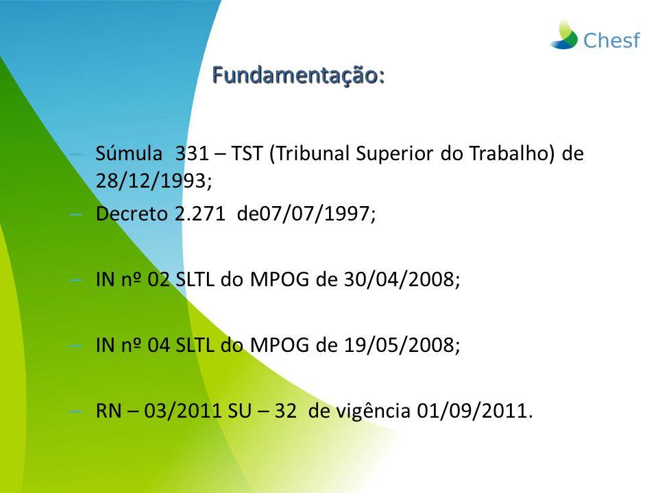 Fundamentação: Súmula 331 – TST (Tribunal Superior do Trabalho) de 28/12/1993; Decreto 2.271 de07/07/1997;