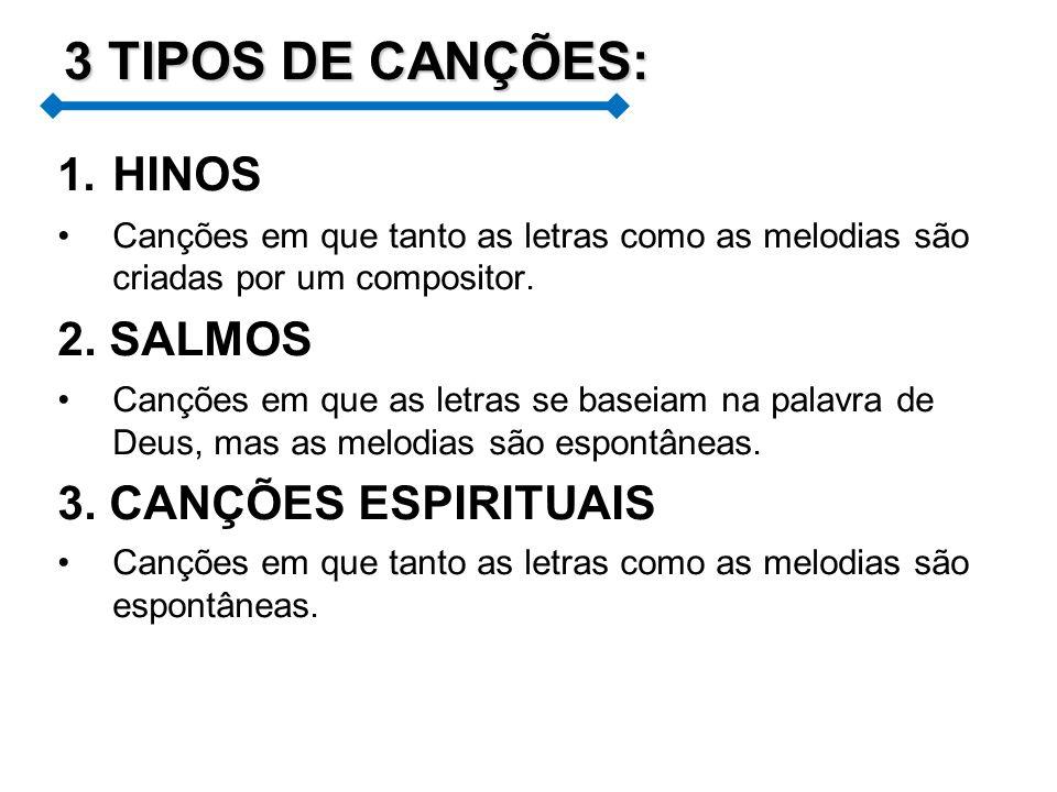 3 TIPOS DE CANÇÕES: HINOS 2. SALMOS 3. CANÇÕES ESPIRITUAIS