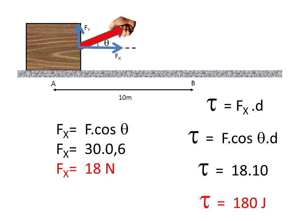  = F.cos .d  = 18.10  = 180 J  = FX .d FX= F.cos  FX= 30.0,6