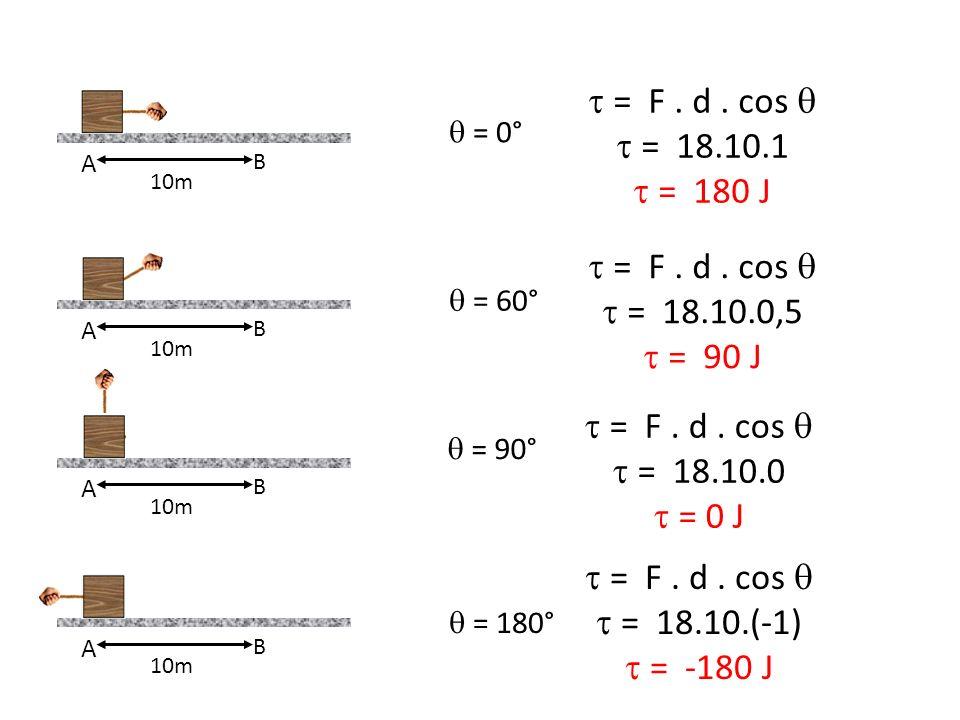  = F . d . cos   = 18.10.1  = 180 J  = F . d . cos 