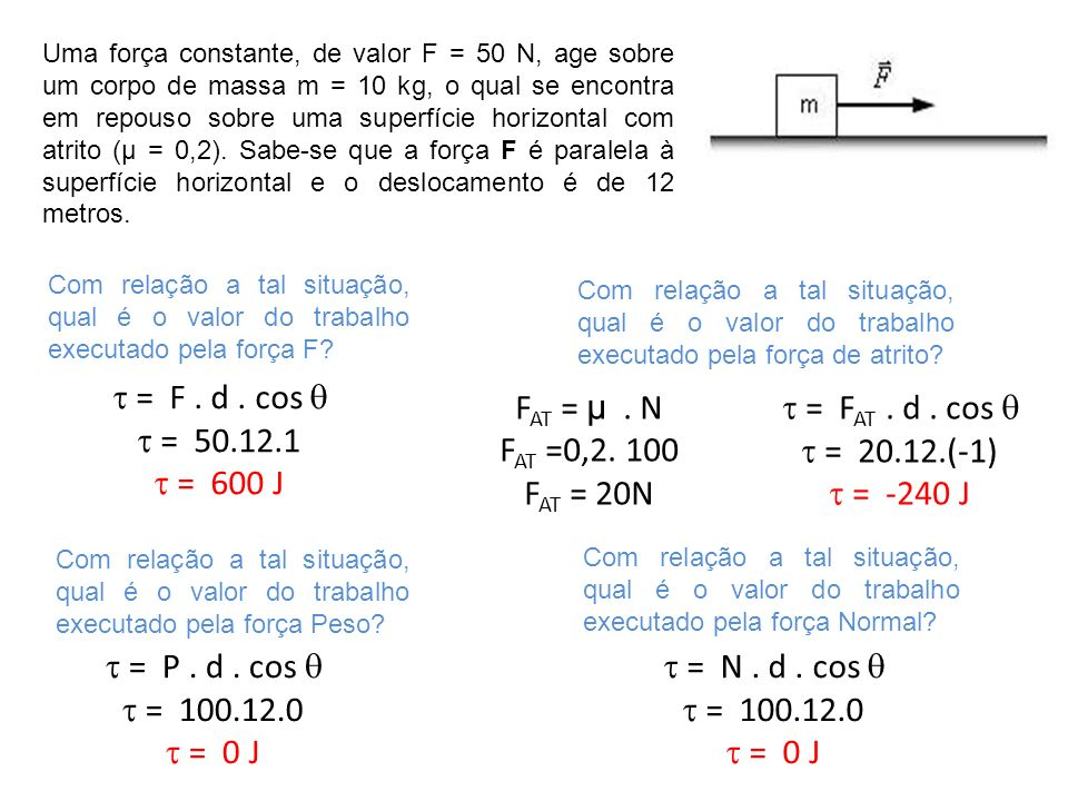  = F . d . cos   = 50.12.1  = 600 J FAT = µ . N FAT =0,2. 100