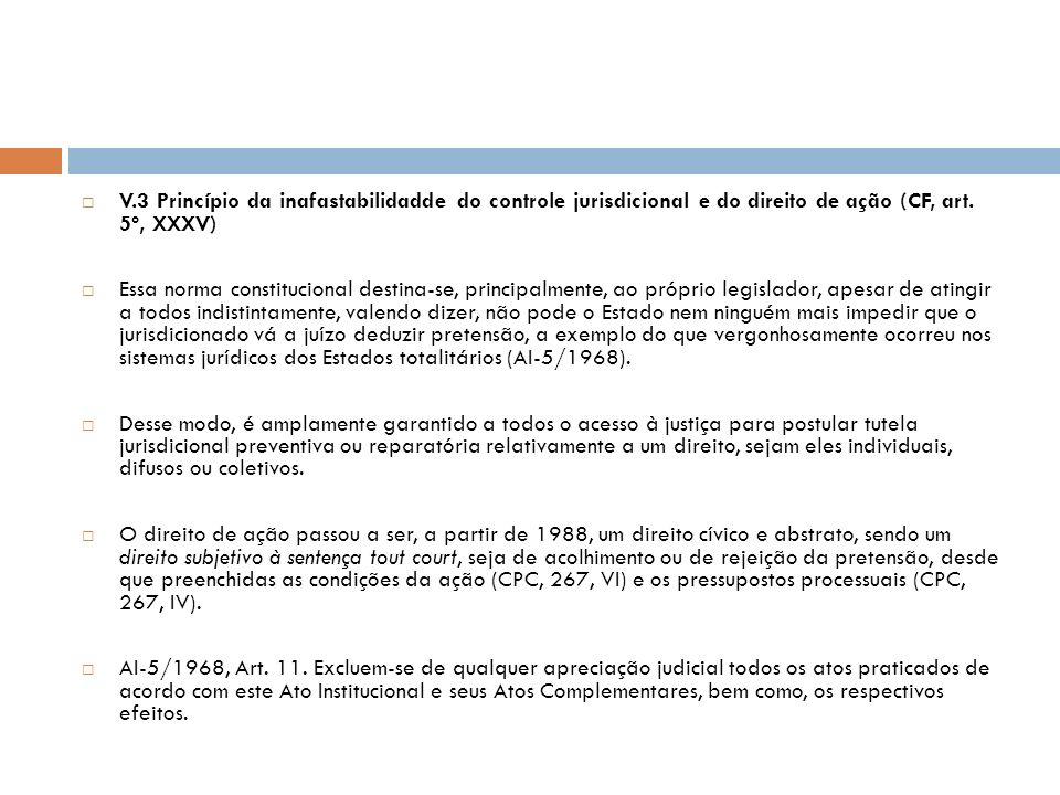 V.3 Princípio da inafastabilidadde do controle jurisdicional e do direito de ação (CF, art. 5º, XXXV)